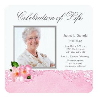 Kvinna rosa meddelande för fotominnesgudstjänst fyrkantigt 13,3 cm inbjudningskort