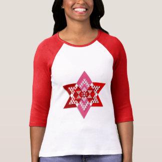 Kvinna rosor och röd stilfull stjärnaT-tröja Tee Shirt