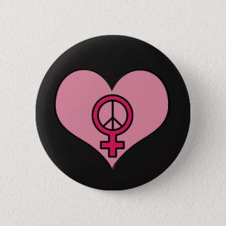 Kvinna rundan för hjärta för rättigheterprotesten standard knapp rund 5.7 cm