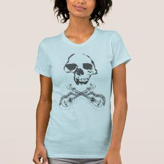 Kvinna skalle och gitarrer t-shirts