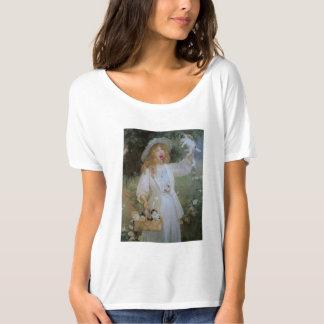 Kvinna Slouchy T-tröja för vitbomull - roliga T Shirt
