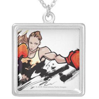 Kvinna som ha på sig boxninghandsken silverpläterat halsband