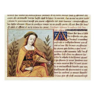 Kvinna som leker en viola vykort