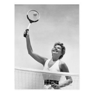 Kvinna som leker tennis 2 vykort