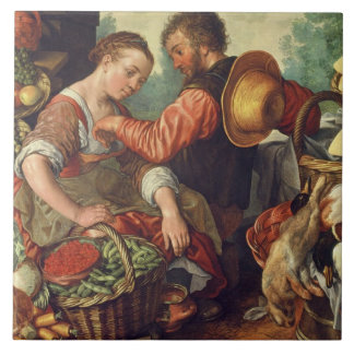 Kvinna som säljer grönsaker, 1567 (olja på kanfas) kakelplatta