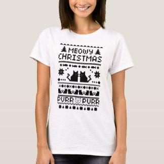 Kvinna t-skjorta för katt för Meowy jul ful Tee