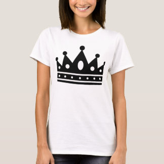 Kvinna T-tröja för Blk-/vitkrona T-shirt