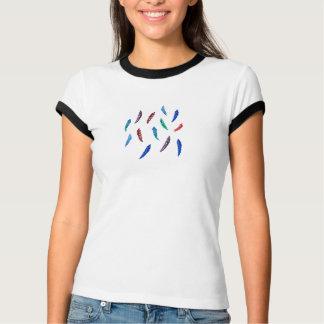 Kvinna T-tröja för melangeringer med fjädrar Tee
