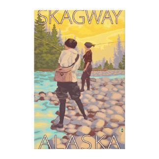 Kvinnaflygfiske - Skagway, Alaska Canvastryck