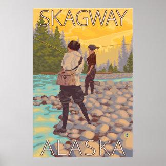 Kvinnaflygfiske - Skagway, Alaska Poster