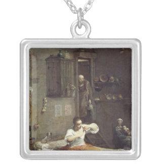 Kvinnan med loppan silverpläterat halsband