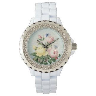 Kvinnlig blom- vintage för ro och flickaktigt armbandsur