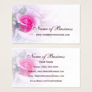 Kvinnlig blommigt för rosa rosblommaelegant visitkort