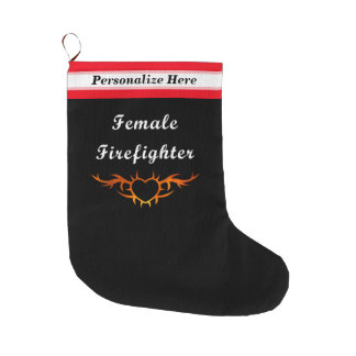 Kvinnlig brandman stor julstrumpa