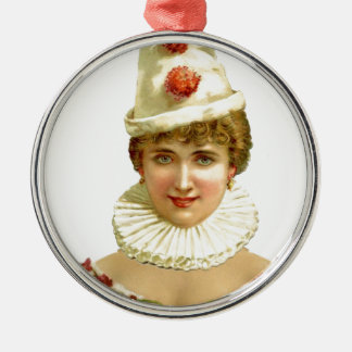 Kvinnlig clown för vintage rund silverfärgad julgransprydnad