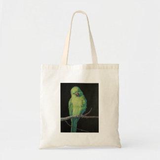 Kvinnlig indisk Ringneck papegoja Tygkasse