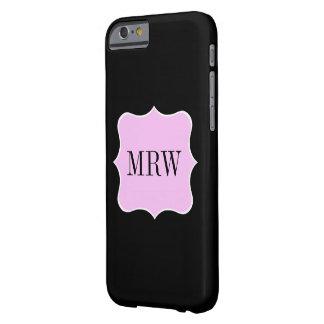 Kvinnlig rosa gräns för rulla för vitsvartMonogram Barely There iPhone 6 Skal