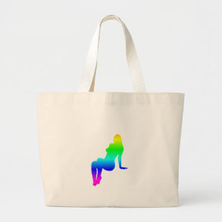 Kvinnlig Silhouette för regnbåge Jumbo Tygkasse