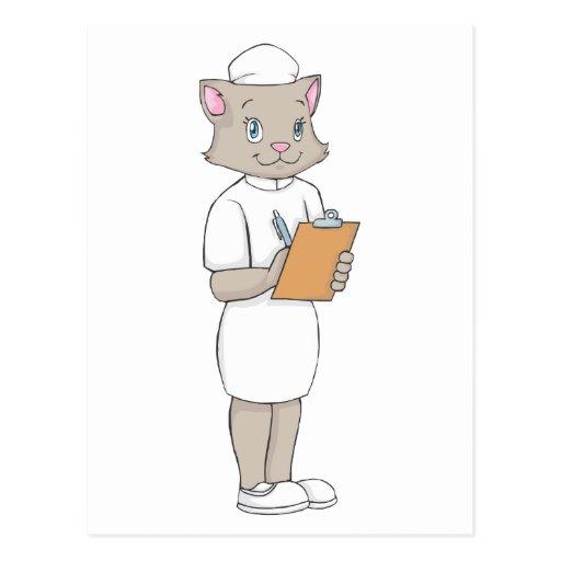 Kvinnlig sjuksköterskakatt vykort