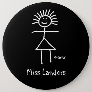 Kvinnlig tillförordnad lärarenamn bricka gulliga jumbo knapp rund 15.2 cm
