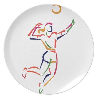 Kvinnlig volleybollspelare tallrik