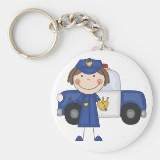 Kvinnliga polisTshirts och gåvor Rund Nyckelring