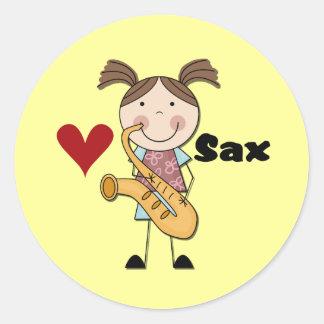 Kvinnliga saxofonspelareTshirts och gåvor Klistermärke