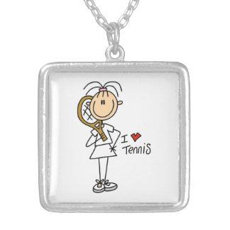Kvinnligt älskar jag tennis silverpläterat halsband