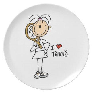 Kvinnligt älskar jag tennis tallrik