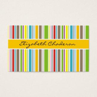 Kvinnligt färgrikt musikband för randmönstergult visitkort