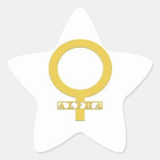 Kvinnligt guld för alfabetisk stjärnformat klistermärke