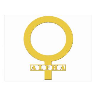 Kvinnligt guld för alfabetisk vykort