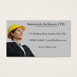 Kvinnligt i byggmästarehattvisitkort visitkort