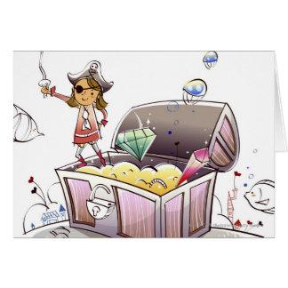 Kvinnligt piratanseende på en skattbröstkorg hälsningskort