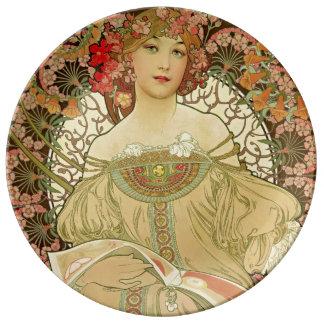 Kvinnligt porträtt Alphonse Mucha Porslinstallrik