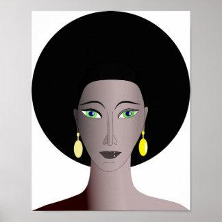 Kvinnligt porträtt för afrikansk amerikan poster