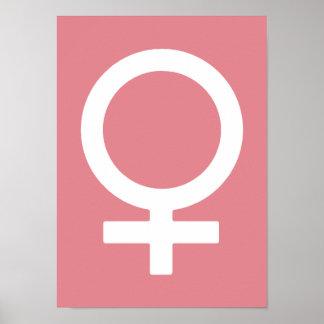 Kvinnligt symbol för jordgubbeis poster