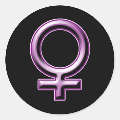 Kvinnligt symbol runda klistermärken