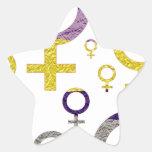 Kvinnligt symbolmönster stjärnformat klistermärke