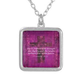 Kvinnor för Verse för bibel för Proverbs31:25 insp Halsband Med Fyrkantigt Hängsmycke