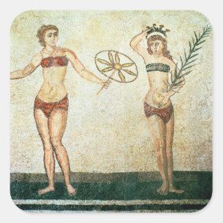 Kvinnor i 'bikinier fyrkantigt klistermärke
