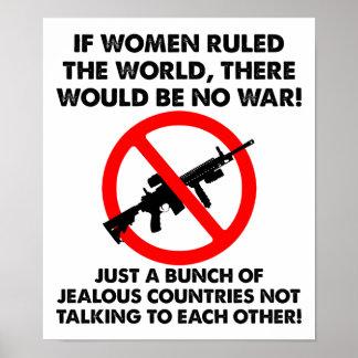 Kvinnor som härskar den roliga affischen för värld poster