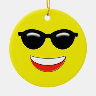 Kylig Emoji anpassningsbar Rund Julgransprydnad I Keramik