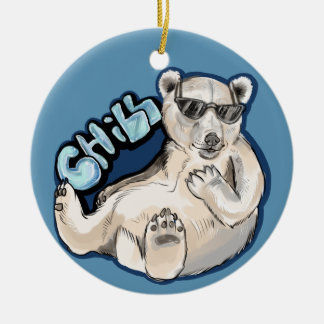 Kylig polar björn julgransprydnad keramik