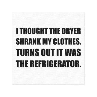 Kylskåp krympte kläder canvastryck
