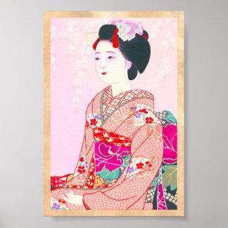 Kyoto Brocade, fyra löv - fjädra den japanska dame Poster