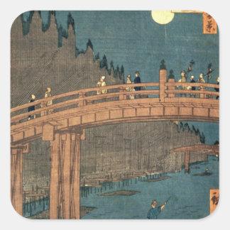 Kyoto överbryggar vid månsken fyrkantigt klistermärke