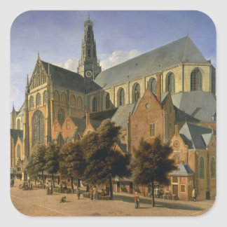 Kyrka av St. Bavo i Haarlem, 1666 Fyrkantigt Klistermärke