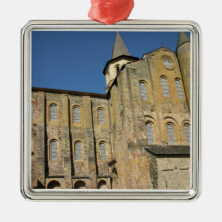 Kyrka av St. Foy, börjad c.1050 av abboten Odolric Silverfärgad Fyrkantigt Julgransprydnad