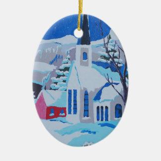 Kyrka by i snö julprydnad juldekoration